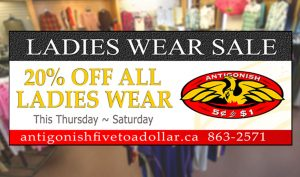 Antigonish Five to Dollar - Ladies Wear Sale